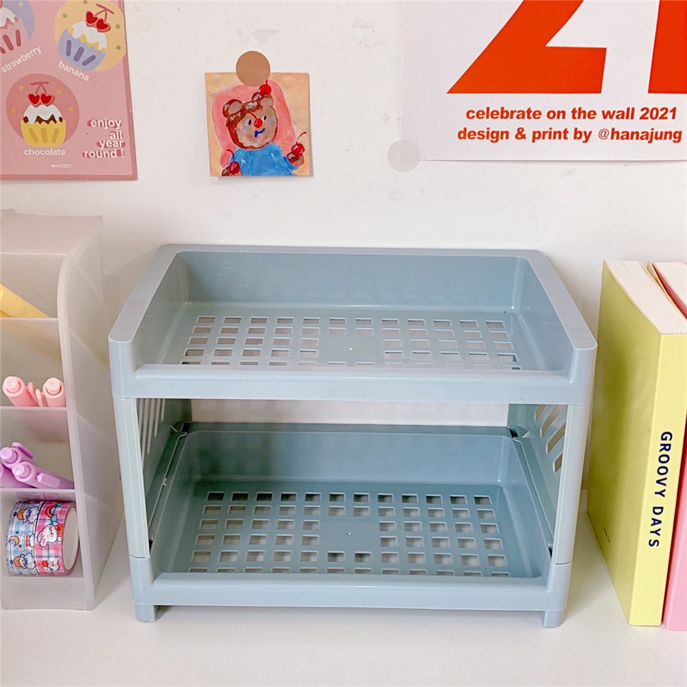 Cosmetic Storage  Container Jewelry Folding Rack Household Desktop Bathroom Oranginzer 3#Blue storage rack
