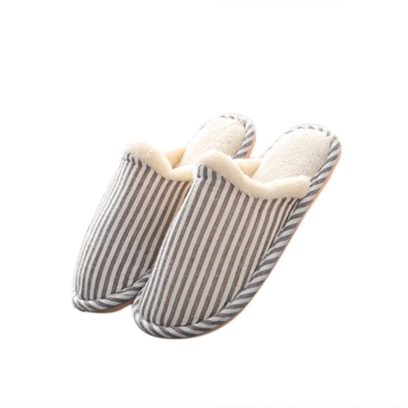 Men Women's Soft Comfortable Cotton Non-slip Soles Strip Winter Outdoor Indoor Slippers