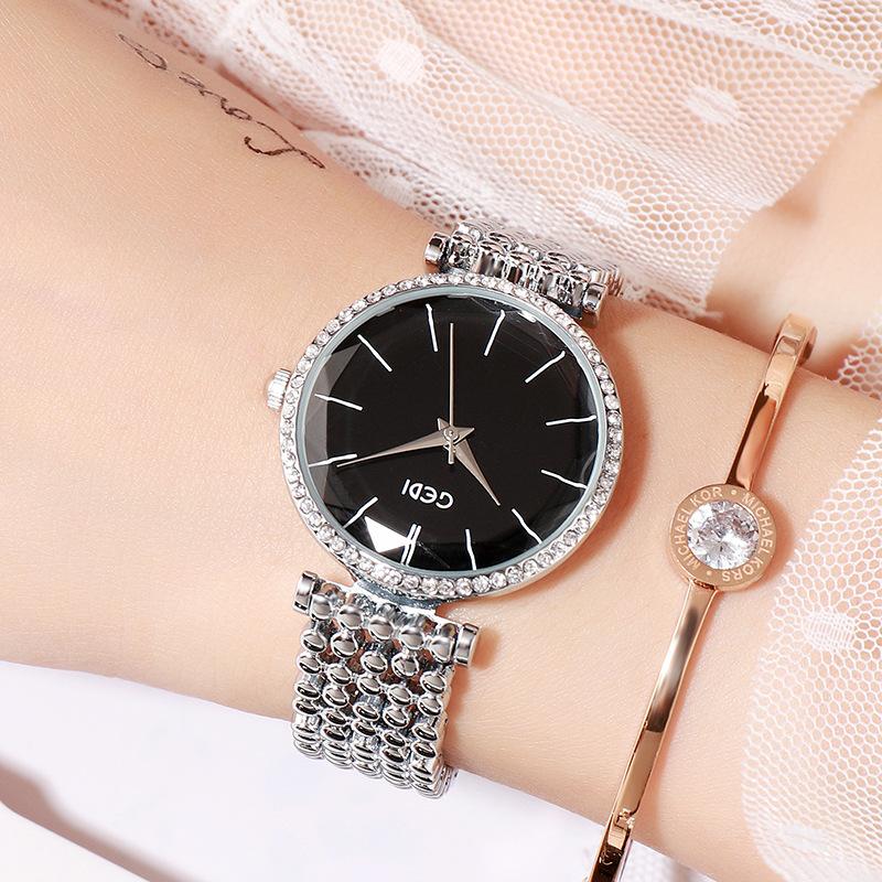 Fashion Women Waterproof Alloy Band Temperament Clock Bracelet Wrist Watch  Silver shell black plate