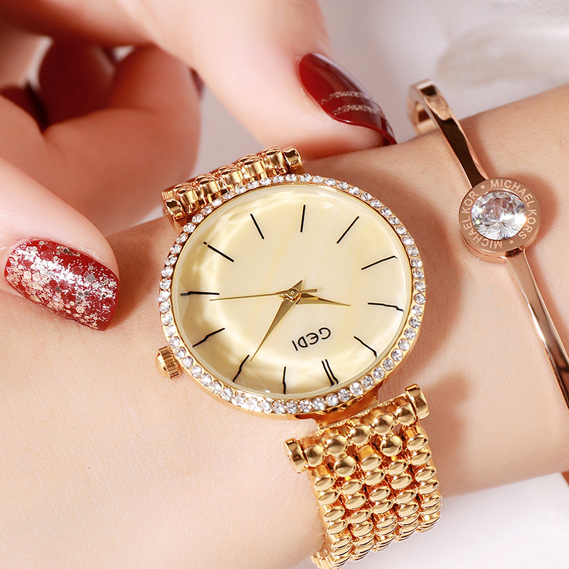 Fashion Women Waterproof Alloy Band Temperament Clock Bracelet Wrist Watch  Local gold