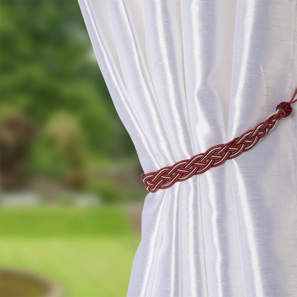 Braided Satin Rope Curtain Tie Backs Tiebacks Holdbacks for Home Window Curtain & Voile Decor Red_83-150cm