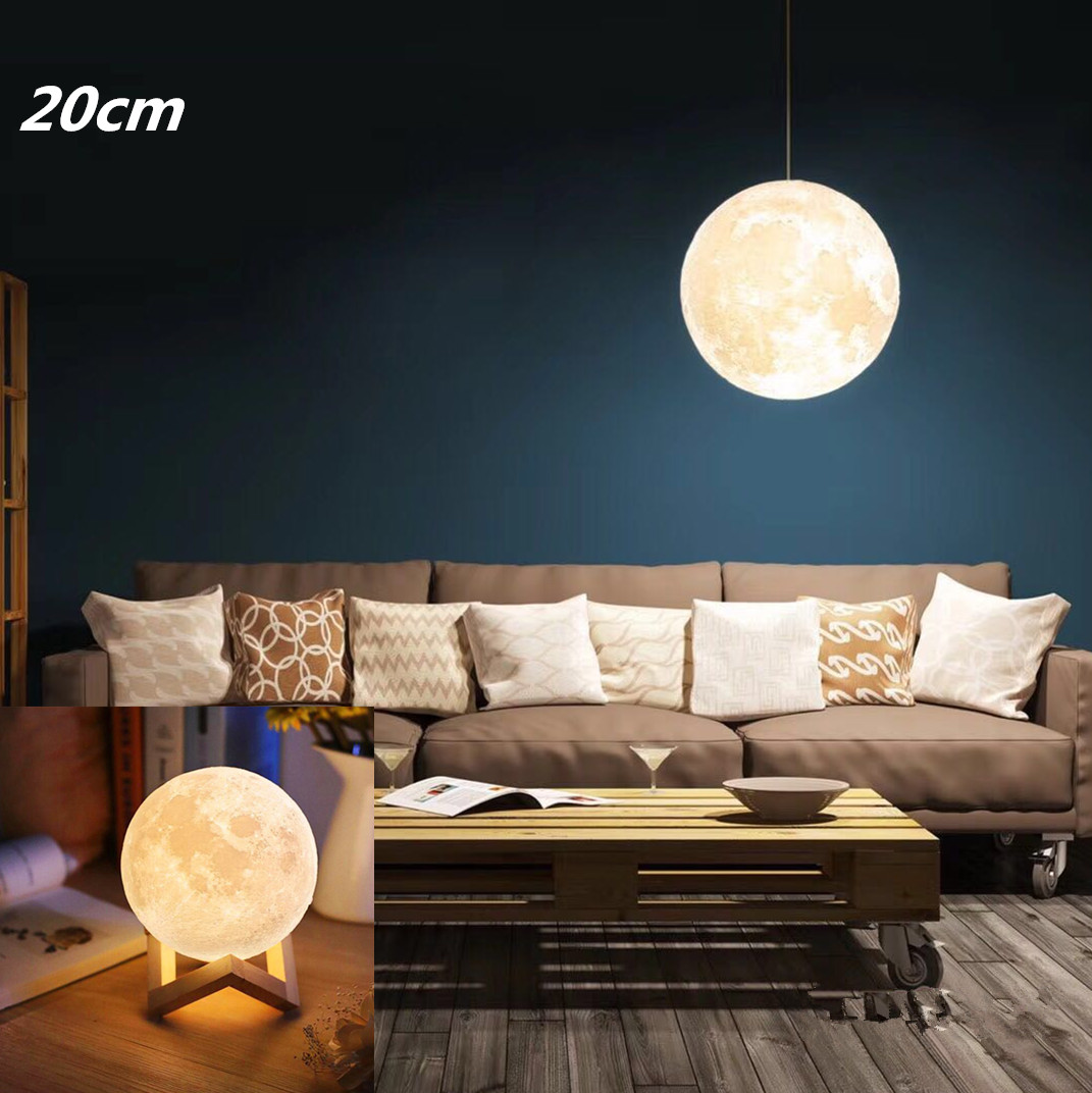 High Power Touch Type 3D Printed LED Moon Shape Lamp Hanging Night Lamp  20cm