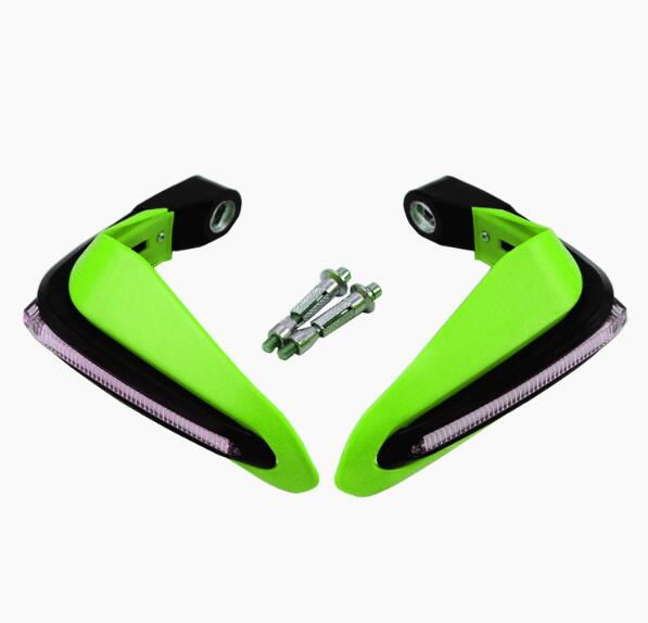 2PCS Motorcycle Handguards Modified Handle Windshield 1.5cm Handlebars LED Light Wind Shield green