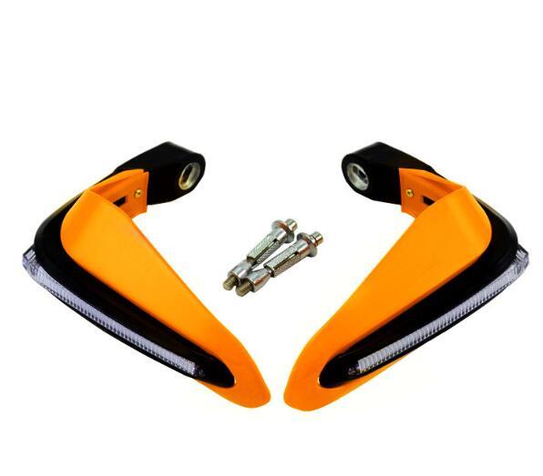 2PCS Motorcycle Handguards Modified Handle Windshield 1.5cm Handlebars LED Light Wind Shield yellow