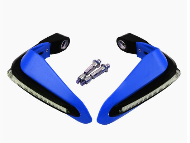 2PCS Motorcycle Handguards Modified Handle Windshield 1.5cm Handlebars LED Light Wind Shield blue