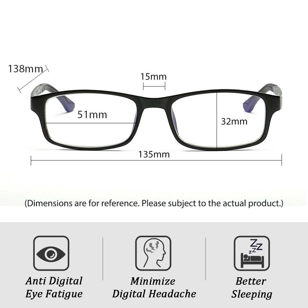 [US Direct] Cyxus Blue Light Blocking [Lightweight TR90] Glasses Anti Eye Strain Headache Computer Eyewear, Unisex (8323T01, Black) Block Droplets Matte Black_M