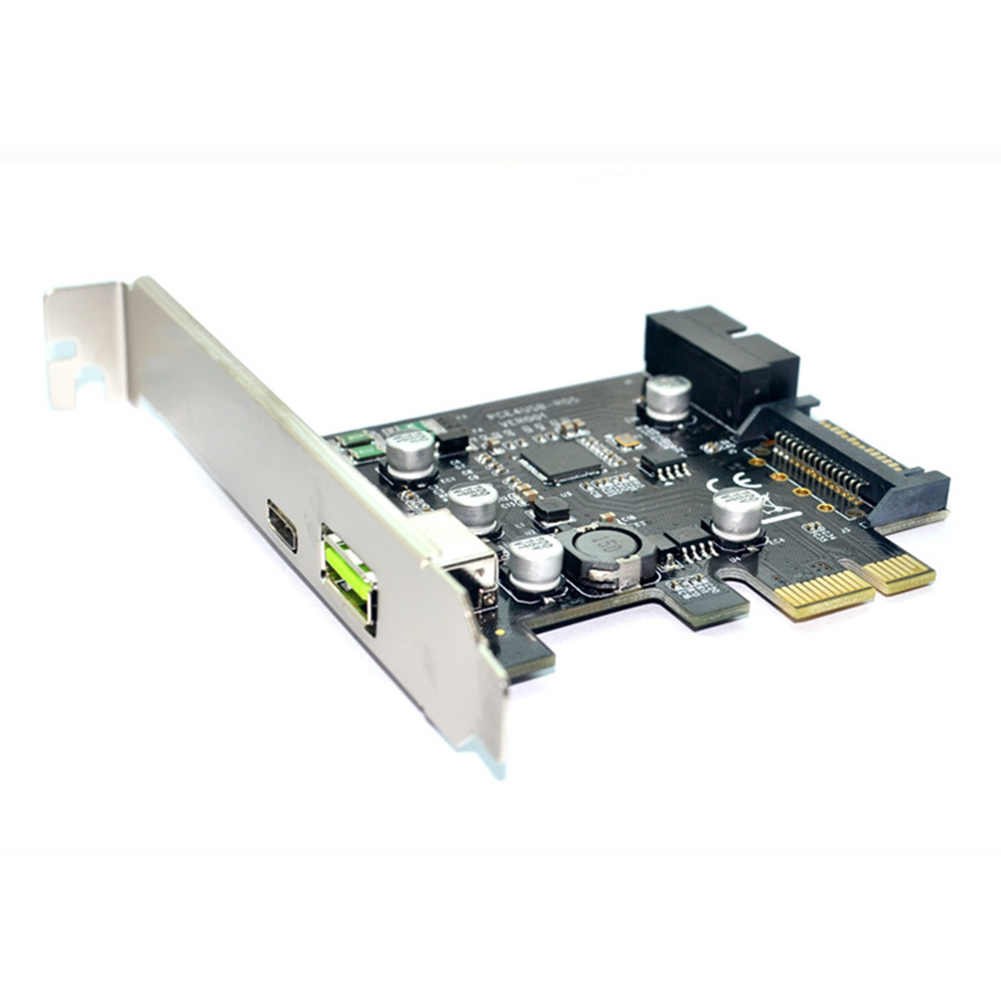 PCI-e to USB3.1 Expansion Card Type C PCI-e to USB 2.4A Fast Charging + 19-pin Front USB Adapter Card