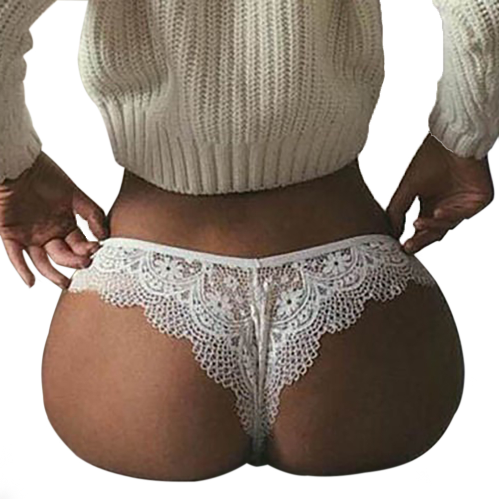 Women's Underpants Lace Hollow Sexy Breathable Solid Color Briefs white_2XL