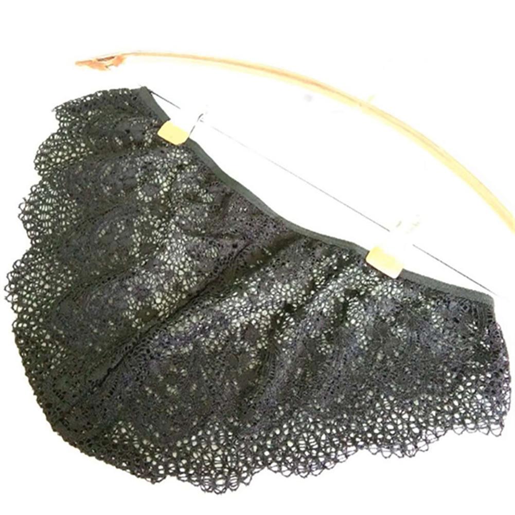 Women's Underpants Lace Hollow Sexy Breathable Solid Color Briefs black_L