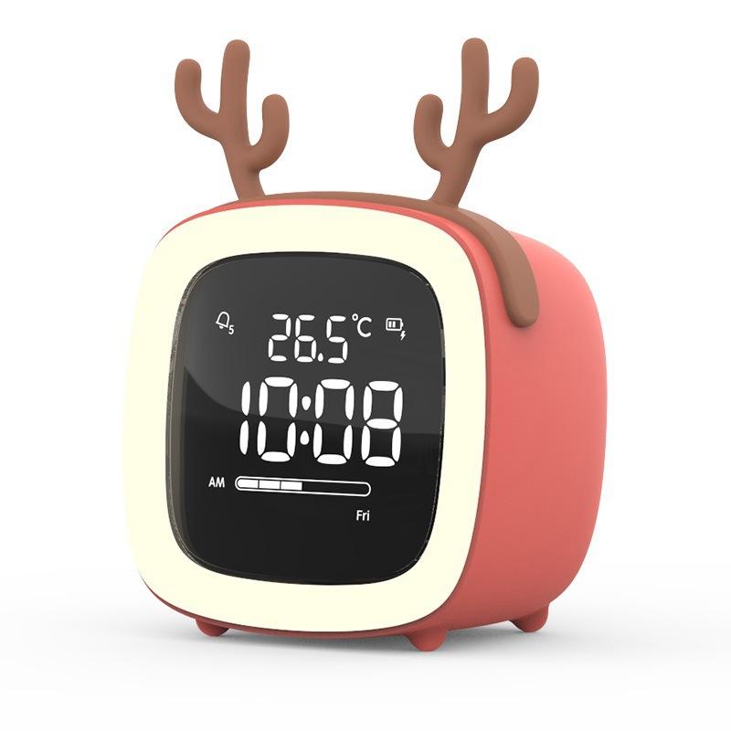Kids Alarm Clock Cute Tv Night Light Alarm Clock For Children Desk Clock Rechargeable Battery Operated Orange antlers