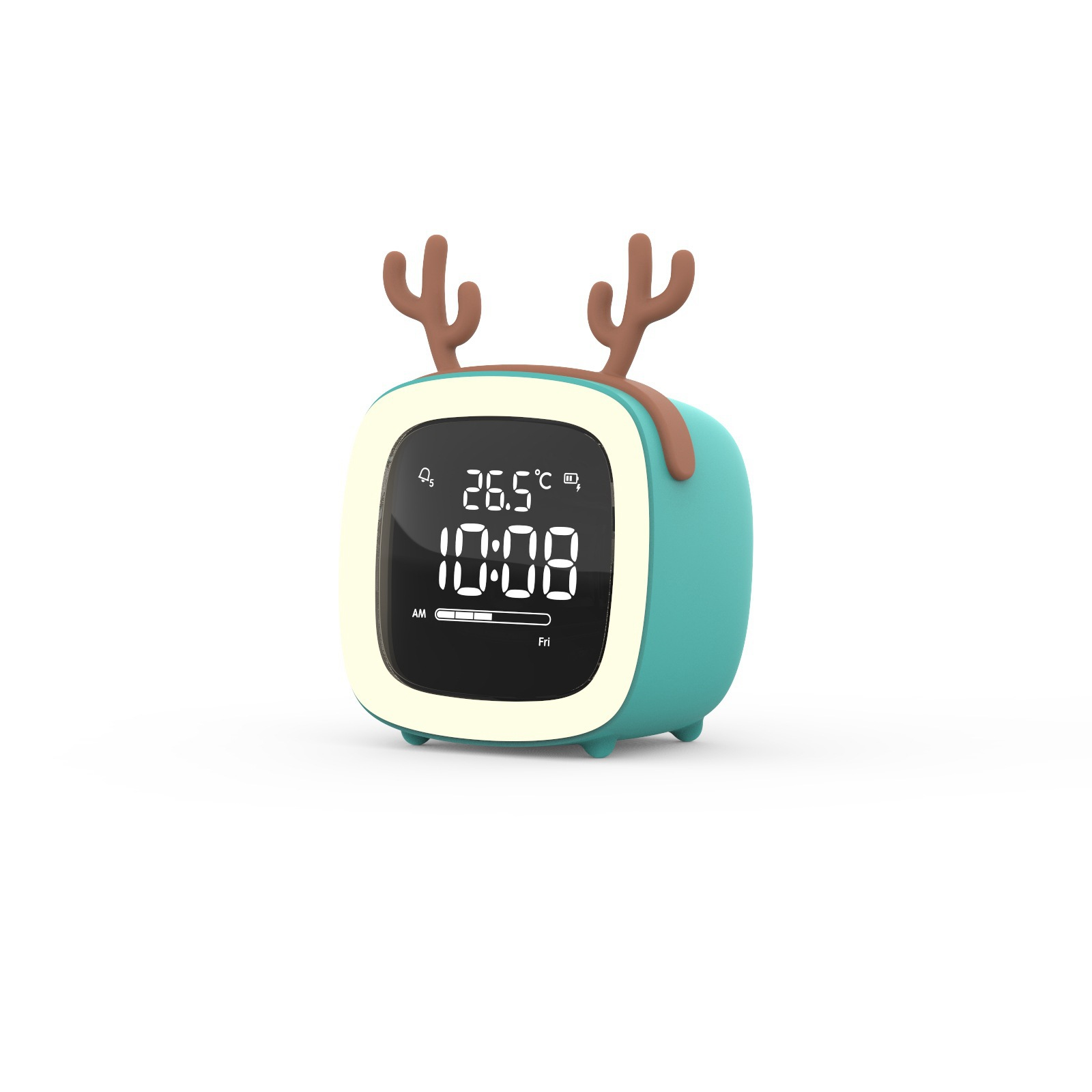 Kids Alarm Clock Cute Tv Night Light Alarm Clock For Children Desk Clock Rechargeable Battery Operated Blue antlers
