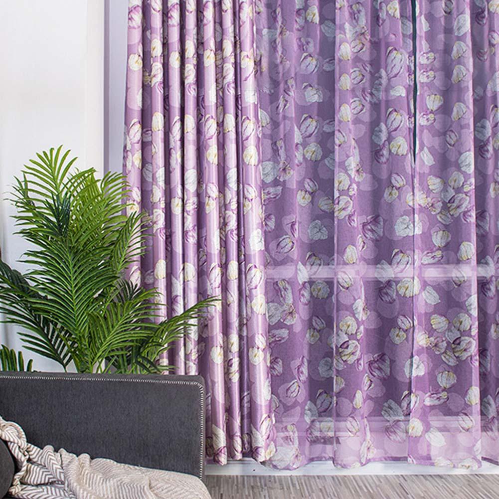 Modern Printing Shading Curtains for Living Room Bedroom Kitchen Window Decor Purple lantern seersucker_1m wide x 2.5m high pole
