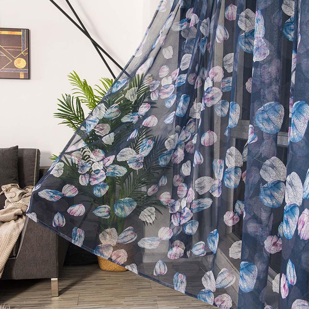Modern Printing Shading Curtains for Living Room Bedroom Kitchen Window Decor Navy blue lantern seersucker_1m wide x 2.5m high pole