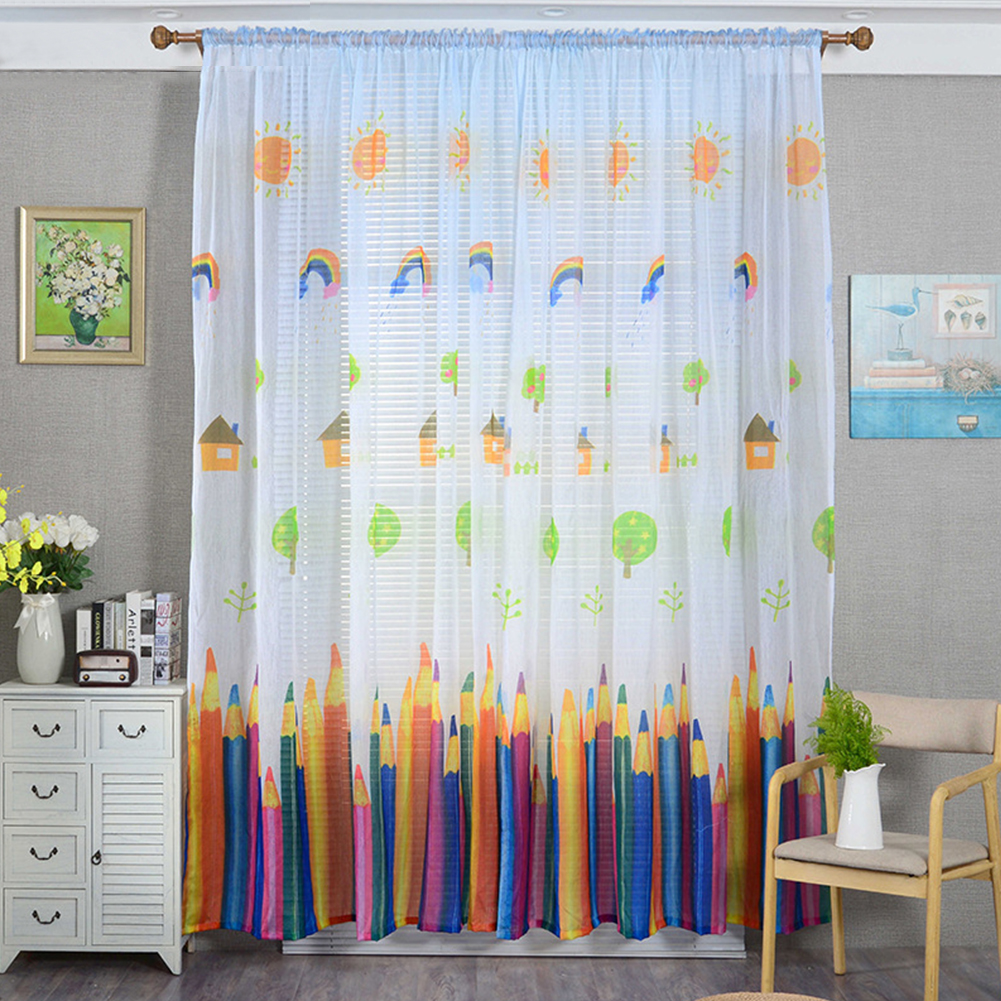 Pencil Printing Window Curtain Tulle for Living Room Bedroom Drapes Decor White pencil yarn_1m wide x 2m high