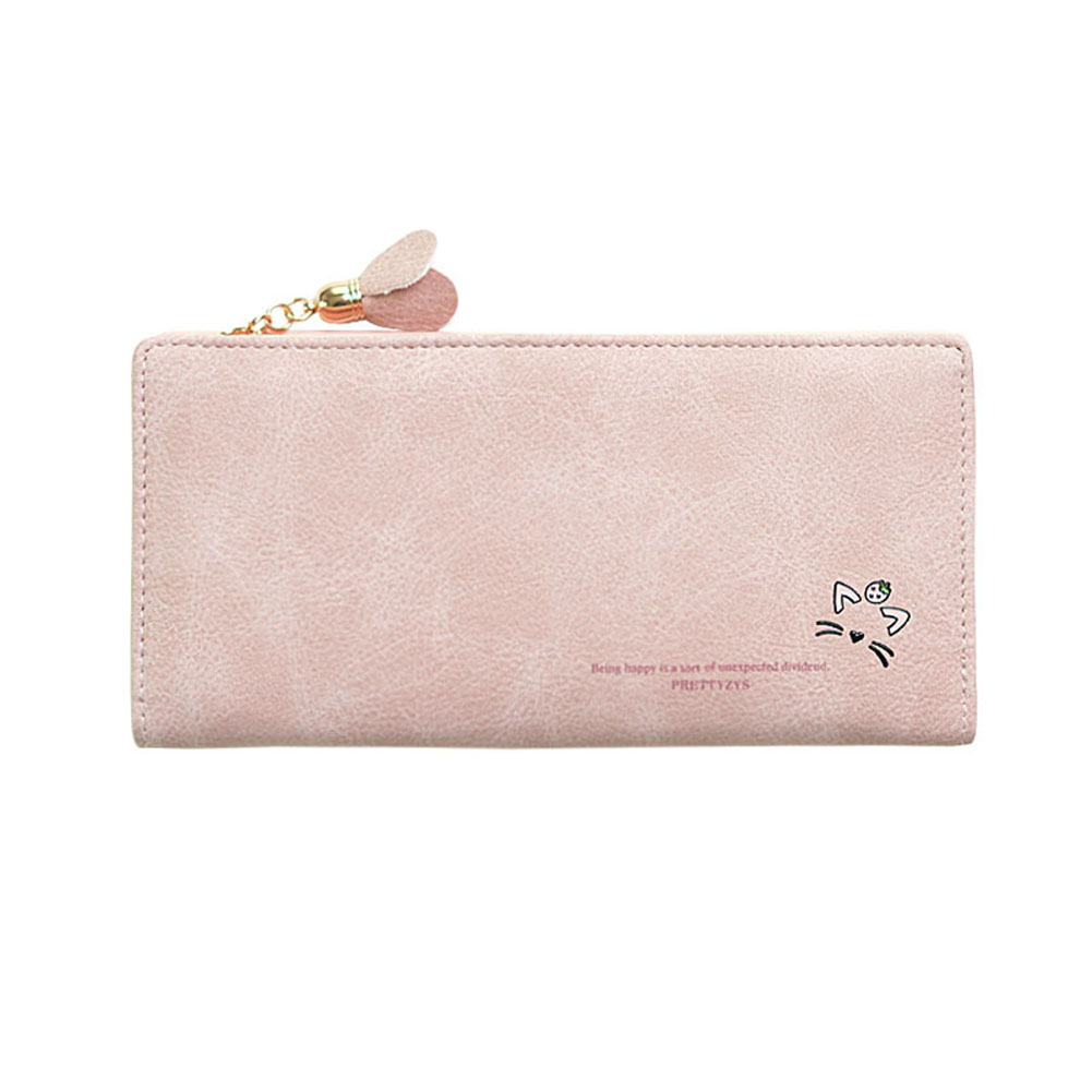 Women Fashion PU Leather Purse Portable Tassels Zipper Buckle Long Handbag