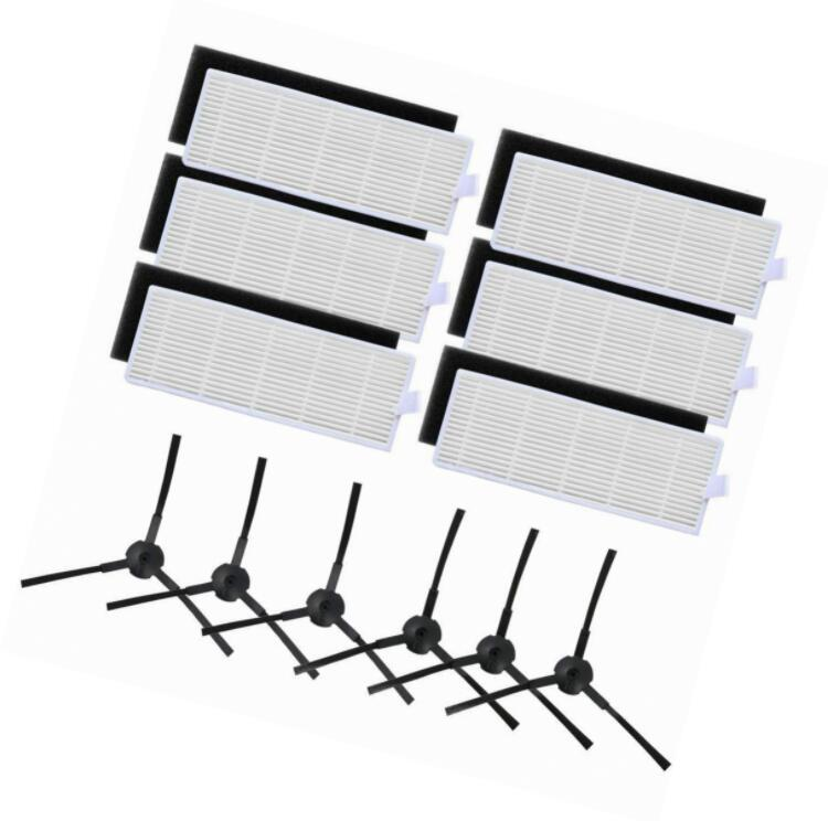 ILIFE A6 A4 A4s 3 HEPA Filter and 4 Side Brushes for Robot Vacuum Cleaner Parts  3 filters, 4 side brushes
