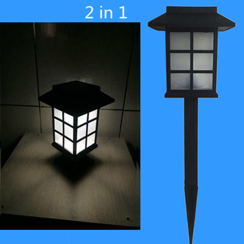 LED Solar Powered Light High Brightness Small House Style Garden Lamp for Outdoor Courtyard Dual use white light