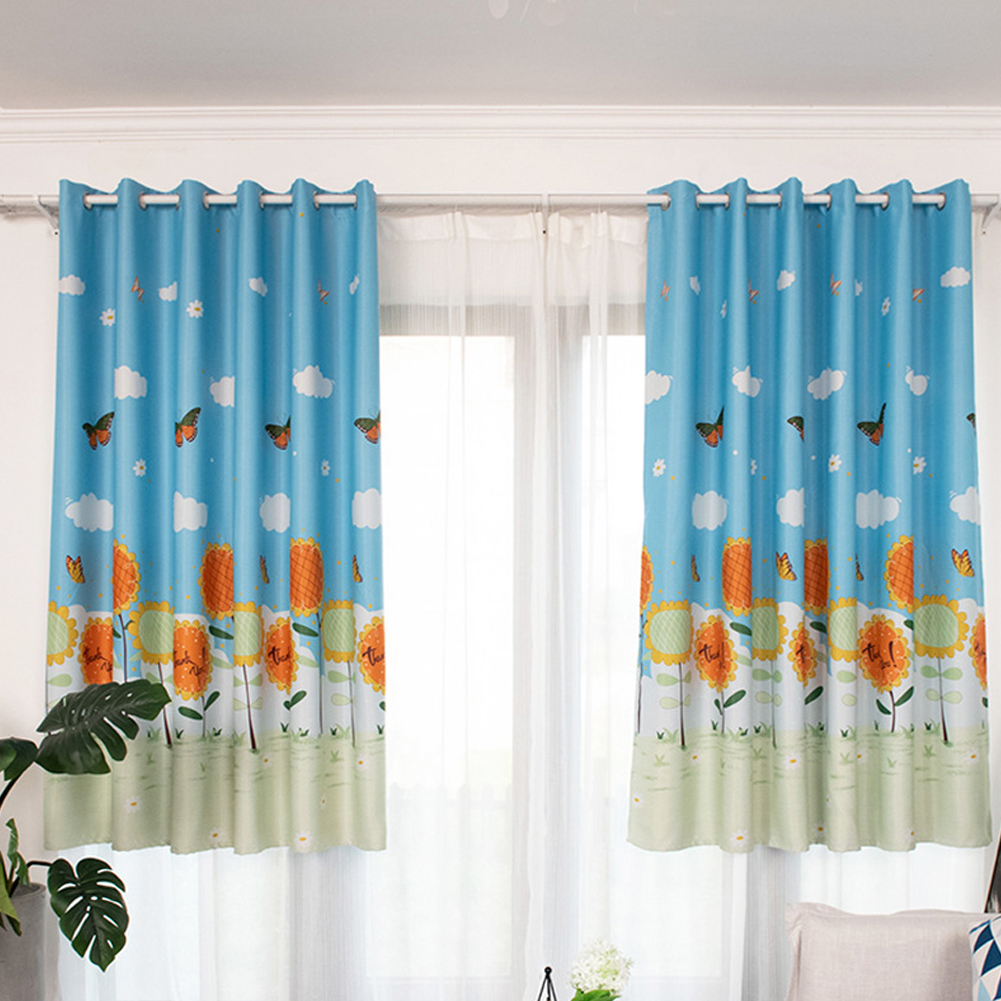 1PC Butterflies Sunflower Printing Shedding Window Curtain for Bedroom Balcony Punching Style blue_1 meter wide x 2 meters high