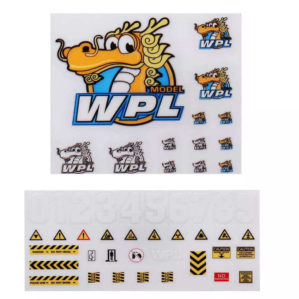 2PCS Stickers Sheet for 1/16 WPL B-1 B16 B14 B16 B24 B36 C14 C14 C34 DIY Decals RC Car Parts as shown