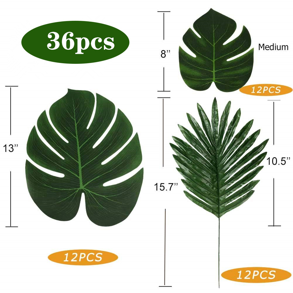 36Pcs Artificial Monstera Leaf with Pole Hawaii Beach Themed Party Table Decor 36pcs