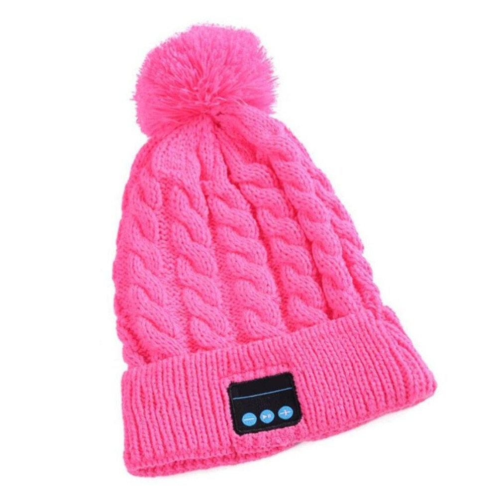 V5.0 Knitted Hat with Ball Wireless Call Music Stereo Sound Bluetooth Hat Pink
