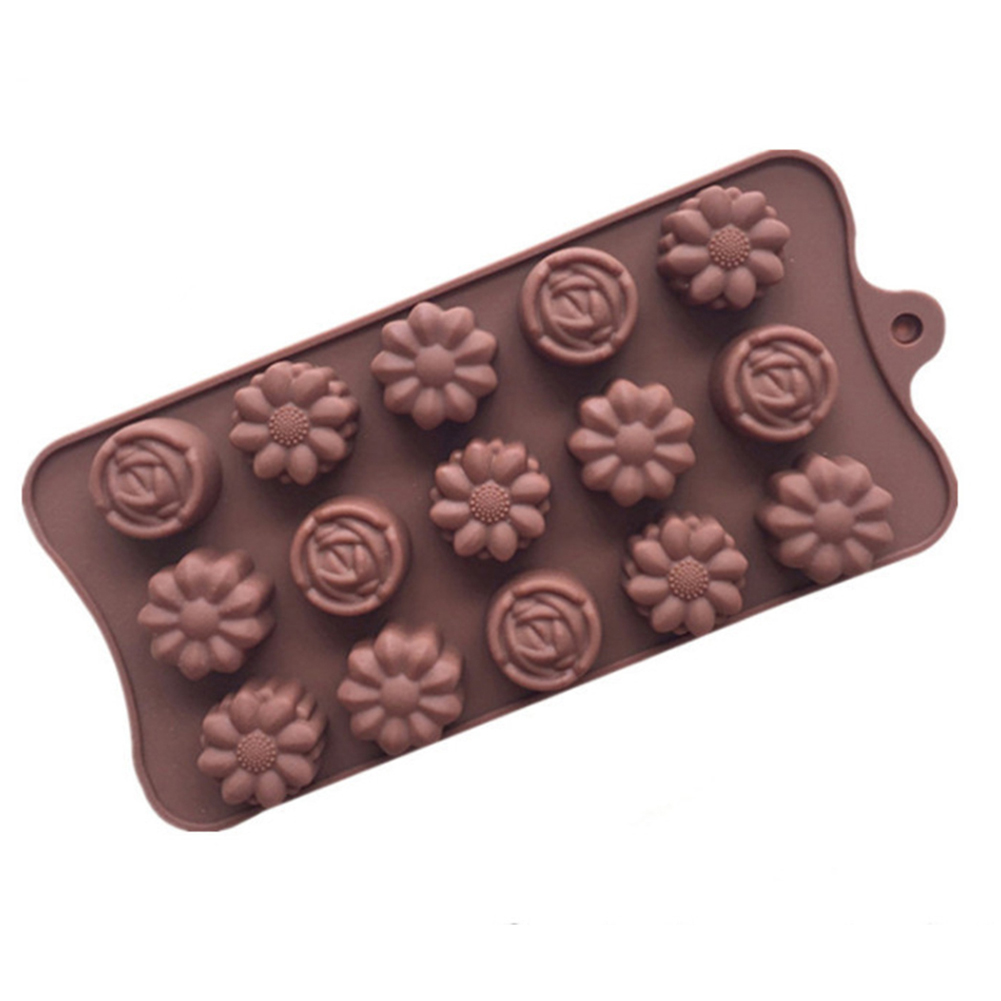 15-Cavity Silicone Chocolate Mold Mould for DIY Baking Ice Chocolate Supplies Chocolate color