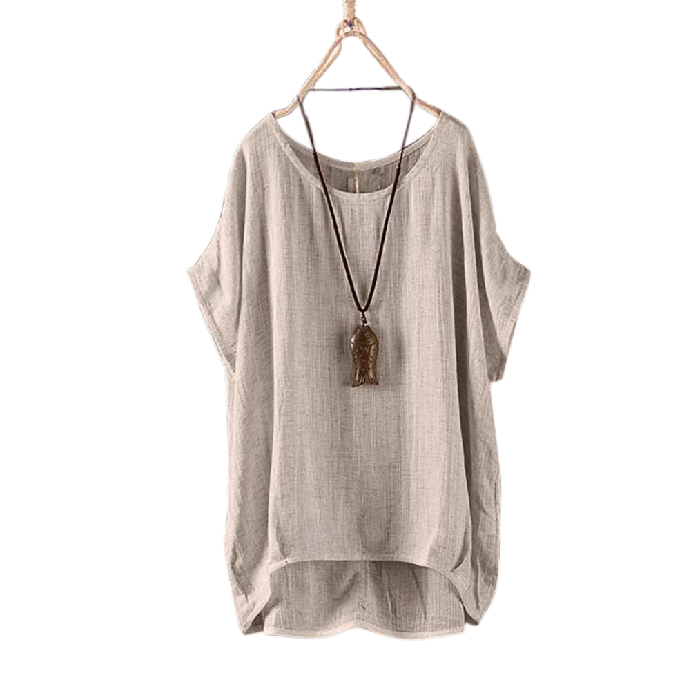 Women Round Collar Casual Flax Tops Fashion