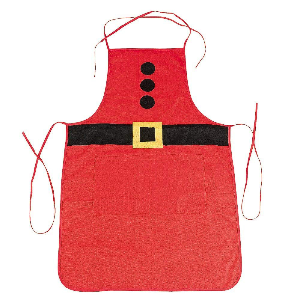Cute Christmas Santa Printing Apron for Home Cooking Baking Party Christmas Decoration adult