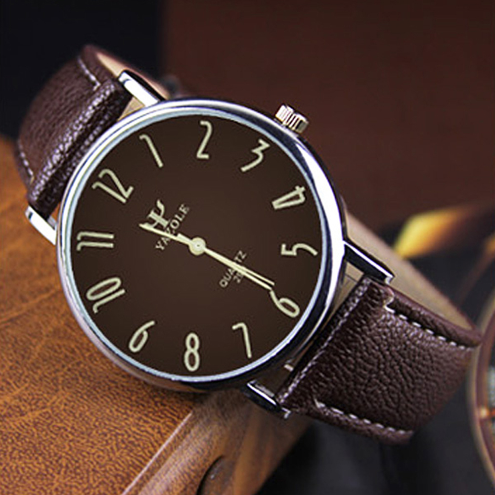 Unisex Casual Business Style Leather Strap Waterproof Classic Watch Small brown dial brown belt
