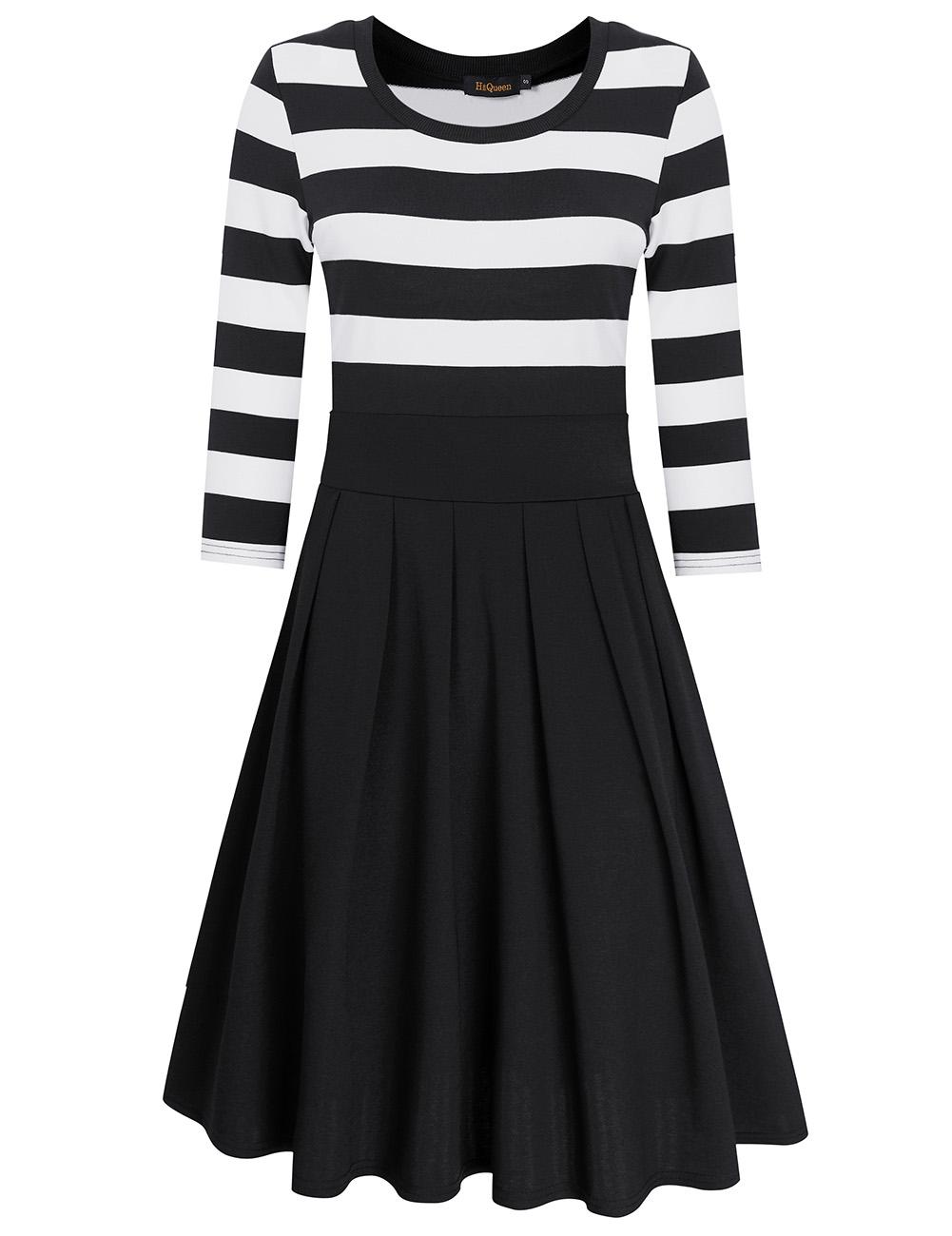 HiQueen Women Casual Scoop Neck 3/4 Sleeve A-Line Swing Dress Stripe Modest Dresses Black_L