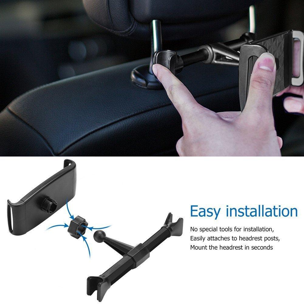 Adjustable Phone Tablet Stand Car Rear Seat Holder Vehicle Headrest Bracket Universal Mount Compatible for Apple iPhone iPad black
