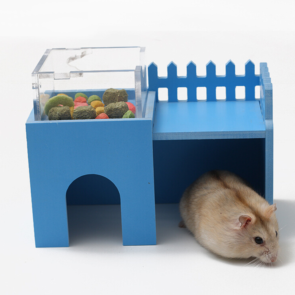 Mini Wooden Double-layer Environment-friendly Villa with Acrylic Feeder Shape Sleeping Nest Toy for Hamster Pet blue_Castle restaurant