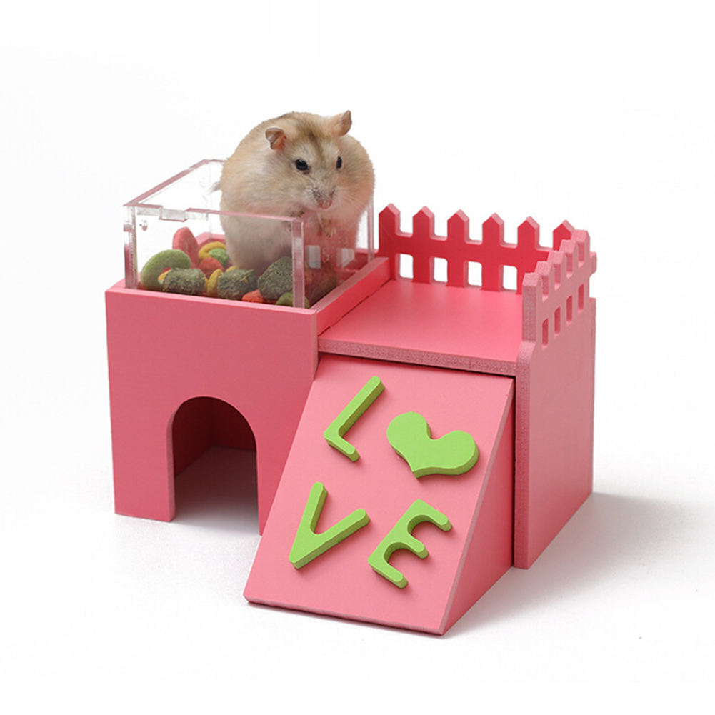 Mini Wooden Double-layer Environment-friendly Villa with Acrylic Feeder Shape Sleeping Nest Toy for Hamster Pet Pink_Castle restaurant