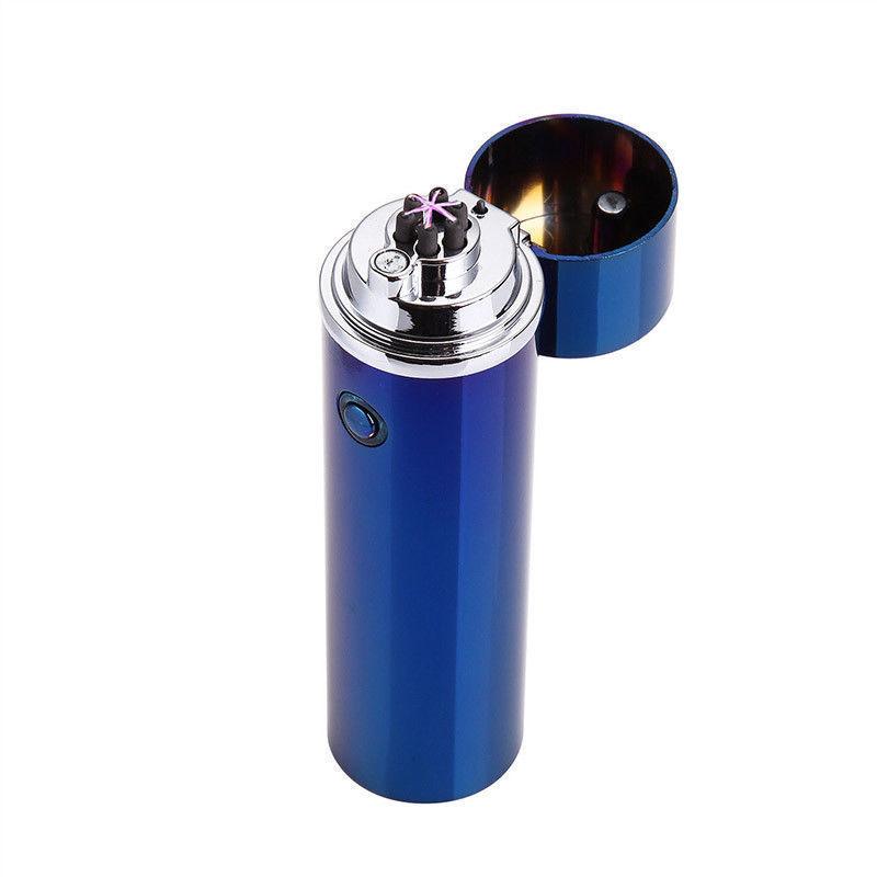 Electric USB Recharging Triple Arc 6 Cross Plasma Windproof Flameless Lighter blue