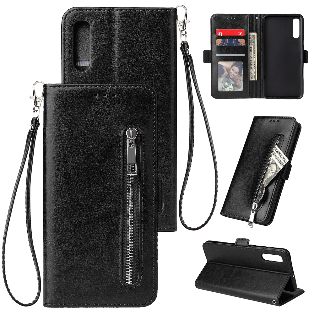For Samsung A50 Solid Color PU Leather Zipper Wallet Double Buckle Protective Case with Stand & Lanyard black