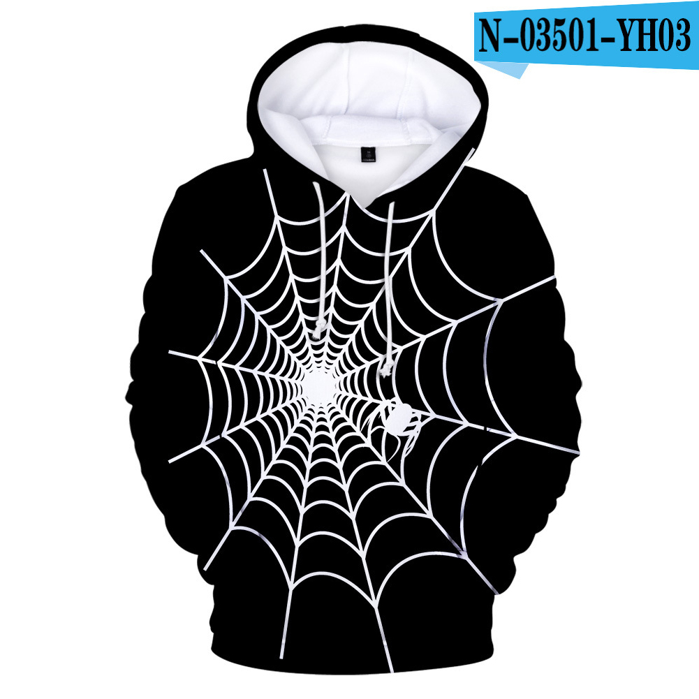 Men Women 3D Halloween Spider Web Digital Printing Hooded Sweatshirts N-03501-YH03 C style_M