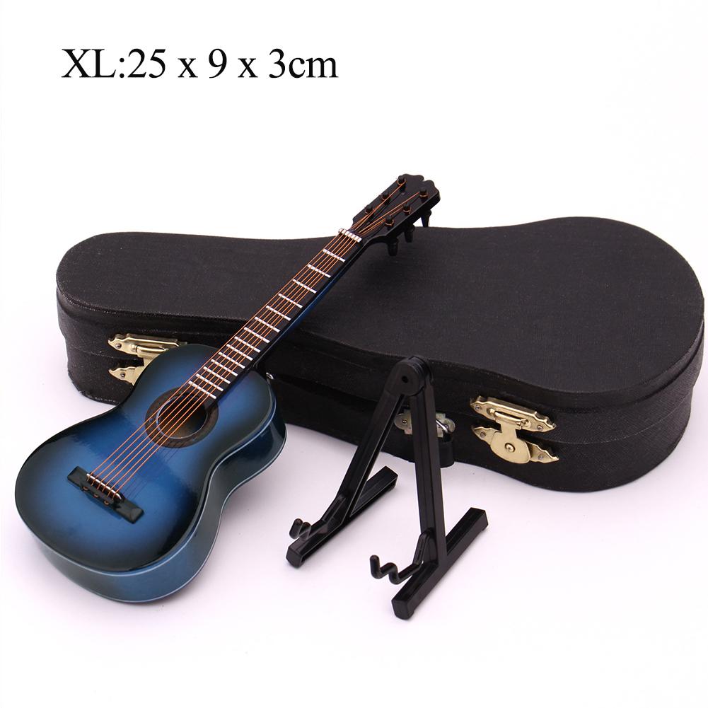 Mini Guitar Miniature Model Classical Guitar Miniature Wooden Mini Musical Instrument Model Collection XL: 25cm_Classical guitar blue