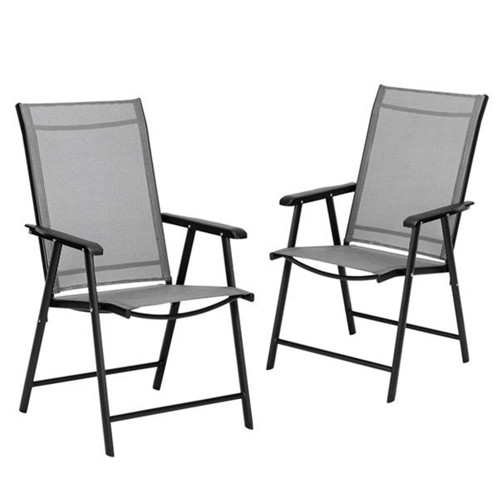 [US Direct] 2pcs/set Portable Folding  Chairs With Armrests For Courtyard Outdoor Camping Beach Deck Restaurant gray