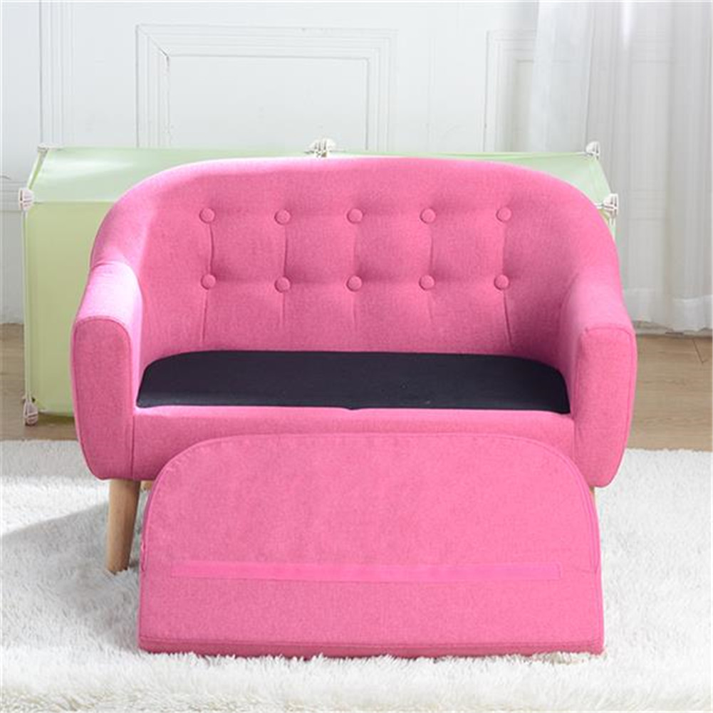 [US Direct] Children  Sofa For 2 Kids With Detachable Cushion Household Furniture For Living Room rose Red