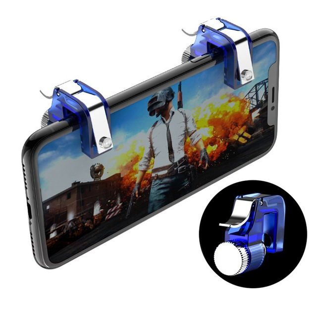 Metal Smart Phone Mobile Gaming Trigger for PUBG Mobile Gamepad Fire Button Aim Key L1 R1 Shooter PUBG Controller blue