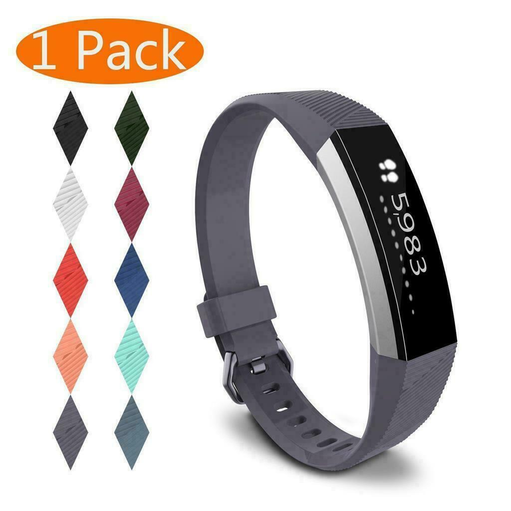 For Fitbit Alta/Alta HR Band Secure Strap Wristband Buckle Bracelet  Gray-blue_L