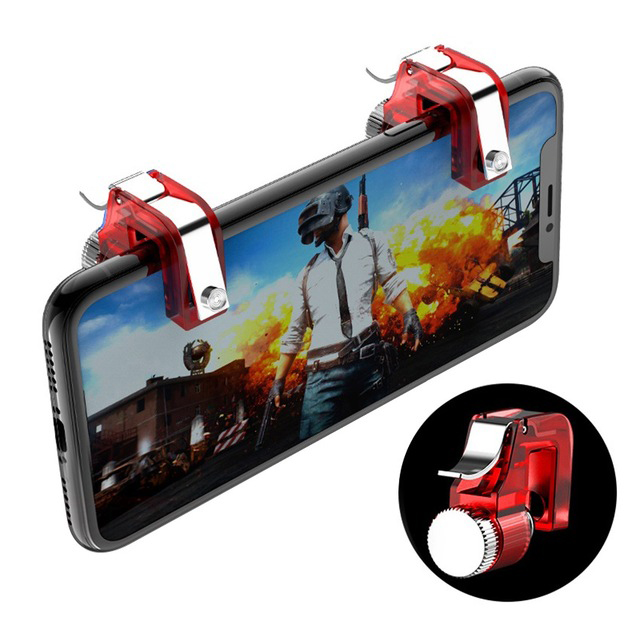 Metal Smart Phone Mobile Gaming Trigger for PUBG Mobile Gamepad Fire Button Aim Key L1 R1 Shooter PUBG Controller red