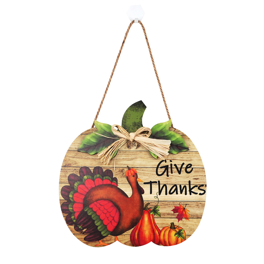 Welcome  Sign Ornaments Wooden Country Style Pumpkin Pattern Door Pendant Decoration Turkey