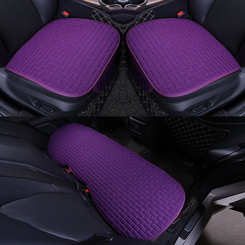 Car Seat Cover set Four Seasons Universal Design Linen Fabric Front Breathable Back Row Protection Cushion romantic purple_Small 3-piece suit