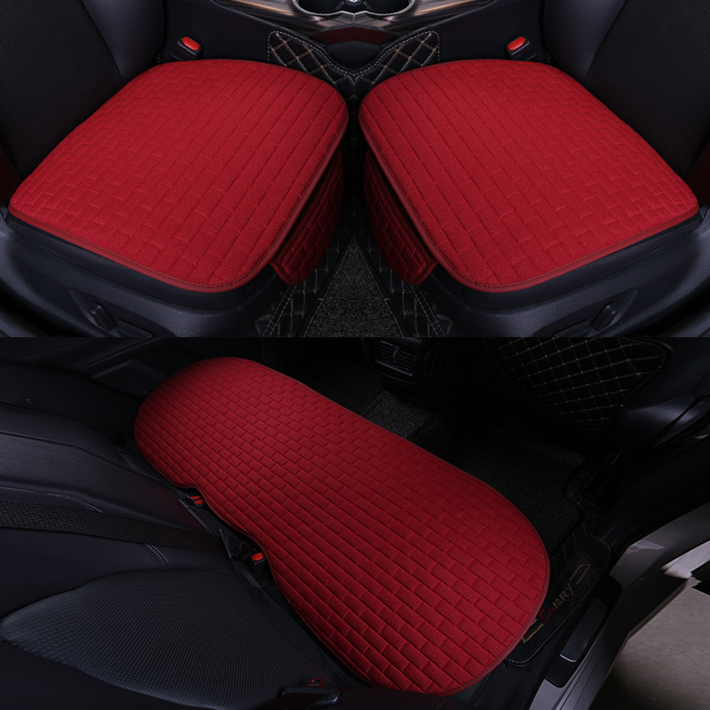 Car Seat Cover set Four Seasons Universal Design Linen Fabric Front Breathable Back Row Protection Cushion Passionate Red_Small 3-piece suit