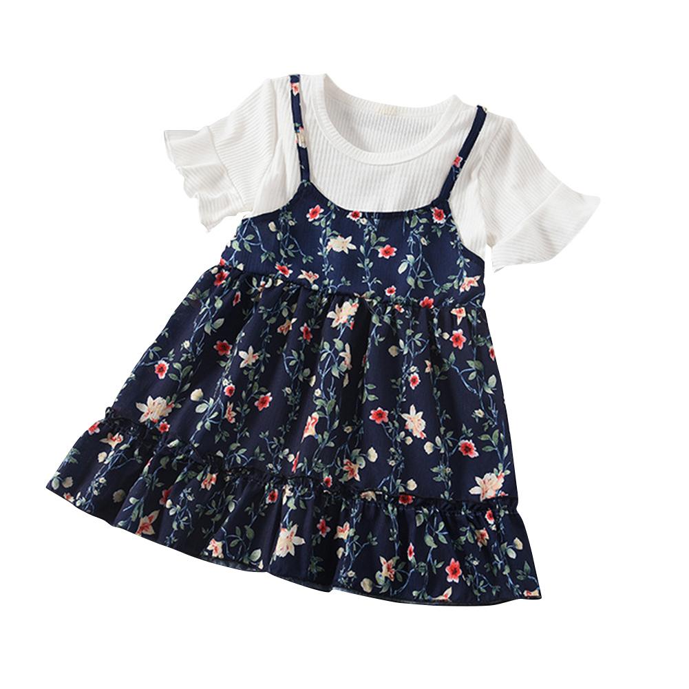 Kids Girls Summer Short Sleeve Floral Printing Suspender Dress