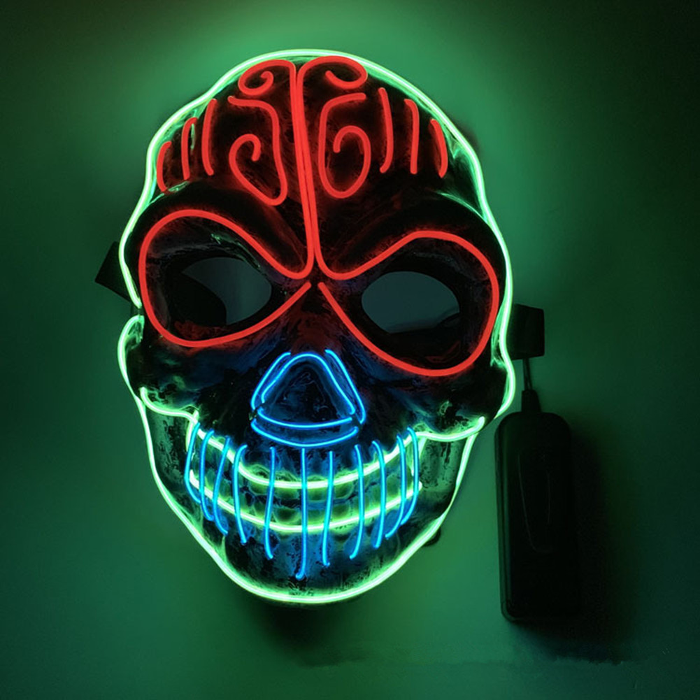 LED EL Cool Light Luminous Skeleton Mask Light Cosplay Prop for Halloween As shown