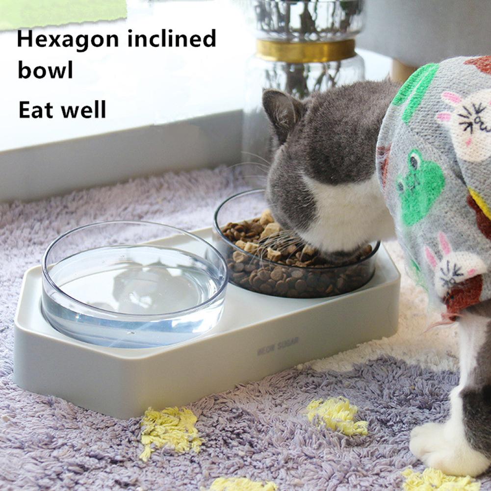 Non Slip Hexagonal Base Bevel Transparent Feeding Bowl for Pet Dog Cats white_Double bowl