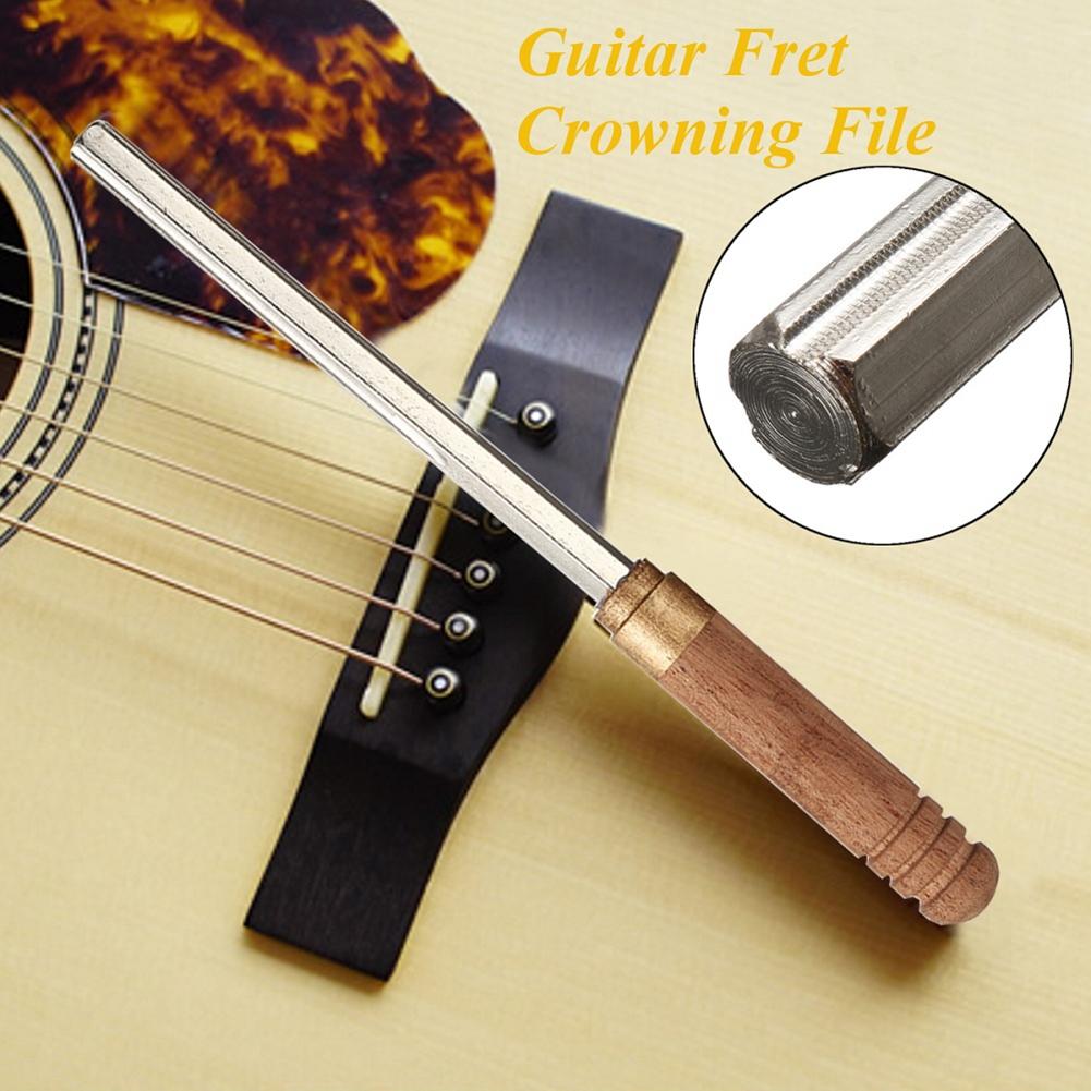 Guitar Fret File Guitar Fret Dressing Metal File with 3 Size Edges Wooden Handle Guitar Repair Tool  MX0022D