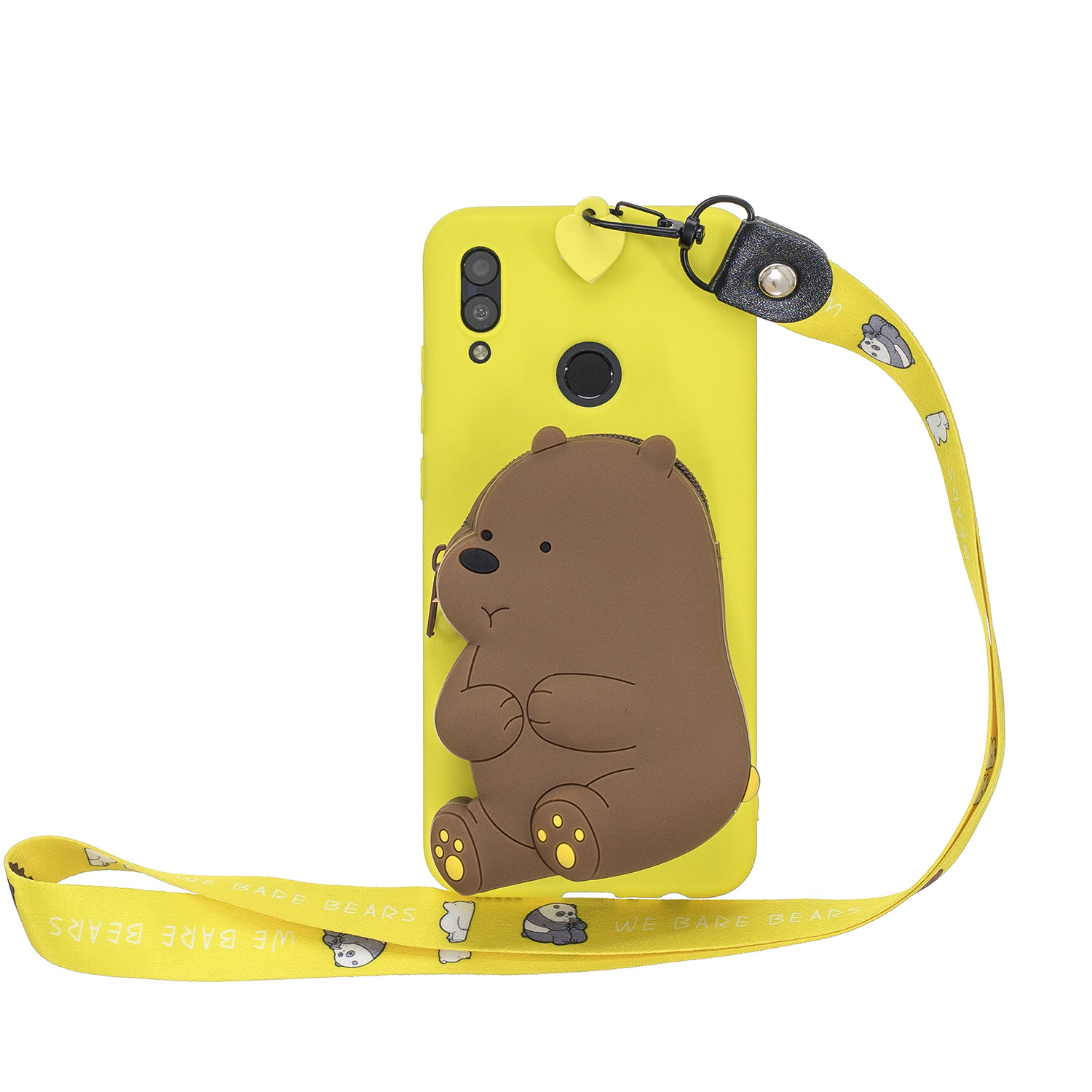 For HUAWEI Y6 2019 Y7 2019 Y9 2019 Cartoon Full Protective TPU Mobile Phone Cover with Mini Coin Purse+Cartoon Hanging Lanyard 1 yellow brown bear